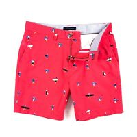 """TOMMY HILFIGER Chino Shorts Men's White Blue Check Woven 9/"""" C8878D8868-112"""