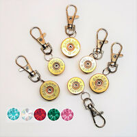 Cartridge brass keyring zip pull for bags coats 12 or 20 bore
