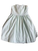 lilly pulitzer dress xs 0 Strapless Seersucker Green/white  Boned Tie Back Ex Co