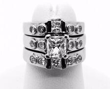 Platinum 3 Pcs. Diamond Wedding Set, 2 Ct TW Diamonds, 26.50 Grams, Size 4.5