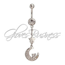 1pc Silver Plated Moon Belly Navel Ring Bar Body Jewelry Cowgirl Body Pieceing