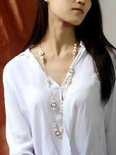 Collier Mi Long Doré Chaine Pavé Fin Perle Blanc Retro Mariage MYL 2