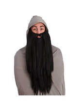 Black Deluxe Long Beard Mens Fancy Dress Wizard Gnome Fairytale Accessory New