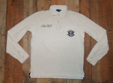 VTG Polo Ralph Lauren #3 Script Logo L/S White Polo Rugby Shirt Women Large EUC