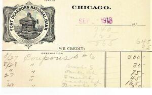 Illinois Chicago 1913 Illust Ad Postcard Ft Dearborn w Ty III Shermack Sc#408