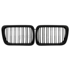 2x Front Kidney Hood Grille Grill Dual Slat For BMW E36 1997 1998 1999 3 Series