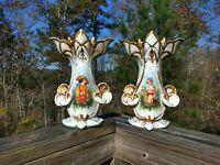 pair 2 antique French porcelain old paris vase circa 1860 Tristan & Isolde