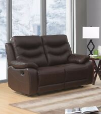 Brown Genuine Leather 2 Seater Manual Reclining Recliner Sofa Suite FUSION