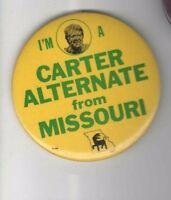 1980 Jimmy CARTER for PRESIDENT pin ALTERNATE Delegate MISSOURI pinback badge
