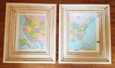 Vintage Wooden Framed 1960s America Map Shabby Chic Decor Atlas Wall Art Picture