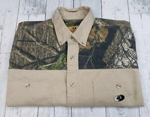 Mossy Oak Men's XL Camo Khaki Hunting Shirt Long Sleeve Button Down Heavy NICE!