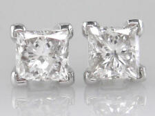 0.80ct F SI VG Princess Cut Diamond Solitaire Stud Earrings in 18ct White Gold