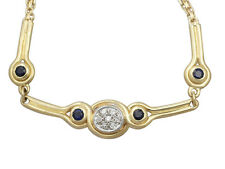 0.15ct Diamond and 0.10ct Sapphire, 18ct Yellow Gold Necklace - Contemporary