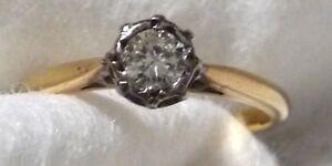 18K Yellow Gold & Platinum,1/4 Ct Round Diamond Solitaire Ring Size N-1/2