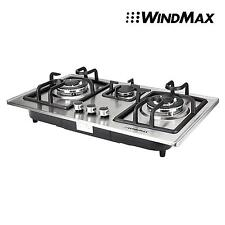 """Brand New 110V 28"""" Stainless Steel 3 Burners Built-In Stove Ng Gas Cooktop Us"""