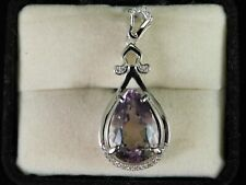 6.96 Ct. Pear Amethyst & Topaz Pendant Sterling Silver