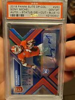 Sony Michel 2018 Panini Elite DP Col. Auto-Status Die-Cut-Blue RC 24/25 PSA 10