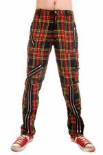Tiger of London Mens Multi Tartan Zip Trousers Punk Rock