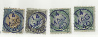 RARE ITALY STAMPS WITH BULLSEYE SOCK ON THE NOSE CANCELS 14 MAG 40. ONE DOUBLED