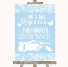 Wedding Sign Poster Print Blue Burlap & Lace Photobooth This Way Right