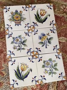 """Royal Delft De Porceleyne Fles (6) Hand Painted Signed 5.5"""" x 5.5"""" Tile"""