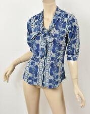 YOANA BARASCHI Blue Snake Python Print Tie-Neck Bow Silky Blouse Top XS