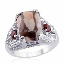 Peanut Jasper/ Mozambique Garnet/ Diamond - Sterling Silver Gemstone Ring - Sz 7