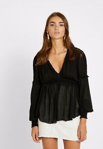 Free People Womens Day Dreaming Top In Black Uk S 8 - 10