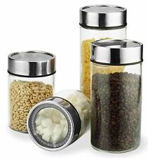 Glass Food Storage Container Set w/ Stainless Steel Date Dial Lids - 4 Piece Set