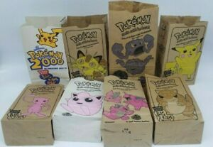 Pokemon Vintage 1999 Burger King Paper Kids Meal Bag Pikachu Mew Nidoking Meowth
