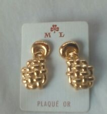 Earrings. Gold Plated. 10 Years Guarantee. Made In France.  Fast Delivery