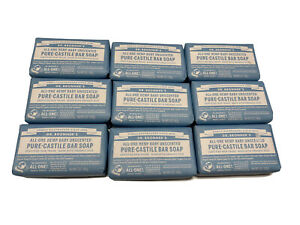Lot of 9 Dr. Bronner's Pure- Castile Bar Soap 5oz. Hemp Baby Unscented New