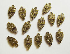 15 Metal Light Antique Bronze Owl Charms - 18mm