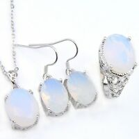 Oval Rainbow Moonstone Silver Rings Dangle Earrings Necklaces Jewelry Sets Sz 9