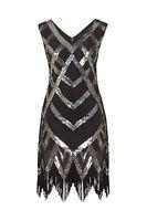 Great Gatsby Flapper Downton Charleston 1920s Sequin Tassle Hem Dress New 8 - 24