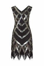 1920's Vtg Flapper Downton Great Gatsby Charleston Tassle Hem Dress 8 - 18 Size 12 Black / Silver
