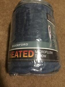 "Biddeford Microplush Heated Blanket Throw 50""x62"" New FREE SHIPPING Blue"