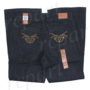 New with tag women plus woven denim jeans dark blue size 18 20 22 24 26 28