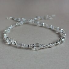 Vintage clear crystals silver beaded collar choker wedding bridesmaid necklace