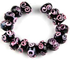 Lampwork Glass Beads Black Pink Swirl Rondelle Handmade Loose Jewelry Craft