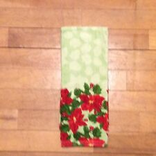 Poinsettia Border Watercolor Christmas Kitchen Towel Red Green Floral