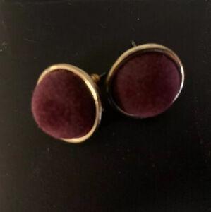 Burgundy Velvet Stud Gold Tone Earrings New as pictured