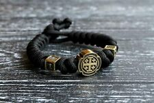 "Christian paracord bracelet ""Jerusalem Cross & St Nicholas the Wonderworker"""