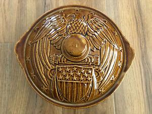 Vintage USA Eagle Stoneware Crock Dish Lid Americana Antique Brown Dip Bean Pot