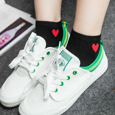 Kawaii Color Women Heart Pattern Soft Breathable Ankle-High Casual Cotton Socks