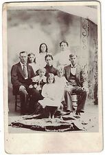 Cabinet Photo of Family of Nine - Early 1900s - Named