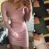 UK Womens Bodycon Long Sleeve Dress Ladies Party Evening Mini Dress Size 6 - 14