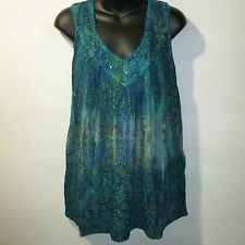 Top Fits XL 1X 2X Plus Tunic Teal Blue Stamp Art Sequins V Neck Tank NWT G805