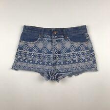 Forever 21 Women's Shortie Shorts Size 27 High Waist Tribal Print Frayed Hem