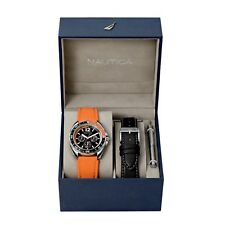 Nautica Sport Ring Gift Set Orange Silicone Strap Mens Watch N09908G